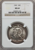 Walking Liberty Half Dollars: , 1947 50C MS64 NGC. NGC Census: (2469/3447). PCGS Population(4333/4571). Mintage: 4,094,000. Numismedia Wsl. Price for prob...