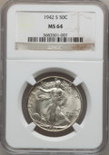 Walking Liberty Half Dollars: , 1942-S 50C MS64 NGC. NGC Census: (2093/1308). PCGS Population(3363/2627). Mintage: 12,708,000. Numismedia Wsl. Price for p...
