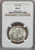 Walking Liberty Half Dollars: , 1940-S 50C MS64 NGC. NGC Census: (1338/936). PCGS Population(1791/1615). Mintage: 4,550,000. Numismedia Wsl. Price for pro...