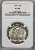 Walking Liberty Half Dollars: , 1942-D 50C MS65 NGC. NGC Census: (1520/1023). PCGS Population(2768/1231). Mintage: 10,973,800. Numismedia Wsl. Price for p...