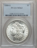 Morgan Dollars: , 1888-S $1 MS63 PCGS. PCGS Population (2044/1674). NGC Census:(932/987). Mintage: 657,000. Numismedia Wsl. Price for proble...