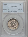 Washington Quarters: , 1957 25C MS67 PCGS. PCGS Population (178/0). NGC Census: (401/3).Mintage: 46,500,000. Numismedia Wsl. Price for problem fr...