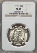 Walking Liberty Half Dollars: , 1945-S 50C MS65 NGC. NGC Census: (2703/630). PCGS Population(3550/858). Mintage: 10,156,000. Numismedia Wsl. Price for pro...