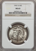 Walking Liberty Half Dollars: , 1947-D 50C MS65 NGC. NGC Census: (4020/942). PCGS Population(4547/1022). Mintage: 3,900,600. Numismedia Wsl. Price for pro...