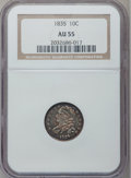 Bust Dimes: , 1835 10C AU55 NGC. NGC Census: (29/330). PCGS Population (49/220).Mintage: 1,410,000. Numismedia Wsl. Price for problem fr...