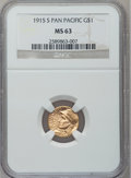 Commemorative Gold: , 1915-S G$1 Panama-Pacific Gold Dollar MS63 NGC. NGC Census:(488/2519). PCGS Population (996/3633). Mintage: 15,000. Numism...