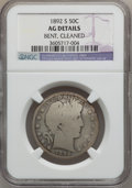 Barber Half Dollars: , 1892-S 50C -- Cleaned, Bent -- NGC Details. AG. NGC Census:(0/185). PCGS Population (33/377). Mintage: 1,029,028. Numismed...