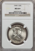Franklin Half Dollars: , 1949-S 50C MS64+ NGC. NGC Census: (818/1219). PCGS Population(1759/1604). Mintage: 3,744,000. Numismedia Wsl. Price for pr...