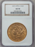 Liberty Double Eagles: , 1873 $20 Open 3 AU58 NGC. NGC Census: (2208/3702). PCGS Population(704/2792). Numismedia Wsl. Price for problem free NGC/...