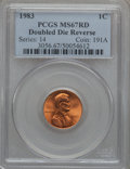 Lincoln Cents, 1983 1C Doubled Die Reverse MS67 Red PCGS. FS-801....