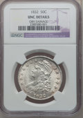 Bust Half Dollars, 1832 50C Small Letters -- Obverse Damage -- NGC Details. Unc. NGCCensus: (2/478). PCGS Population (16/327). Mintage: 4,797...