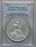 Proof Seated Dollars, 1863 $1 -- Smoothed -- PCGS Genuine. Proof, Unc. Details....