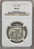 Walking Liberty Half Dollars: , 1941-D 50C MS66 NGC. NGC Census: (1190/185). PCGS Population(1486/154). Mintage: 11,248,400. Numismedia Wsl. Price for pro...