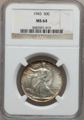 Walking Liberty Half Dollars: , 1943 50C MS64 NGC. NGC Census: (3793/7918). PCGS Population(6352/10431). Mintage: 53,190,000. Numismedia Wsl. Price for pr...