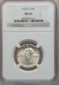 Standing Liberty Quarters: , 1924-D 25C MS62 NGC. NGC Census: (34/1107). PCGS Population(54/1348). Mintage: 3,112,000. Numismedia Wsl. Price for proble...
