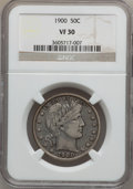 Barber Half Dollars: , 1900 50C VF30 NGC. NGC Census: (6/255). PCGS Population (16/392).Mintage: 4,762,912. Numismedia Wsl. Price for problem fre...