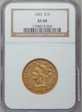 Liberty Eagles: , 1843 $10 XF40 NGC. NGC Census: (16/133). PCGS Population (20/55).Mintage: 75,462. Numismedia Wsl. Price for problem free N...