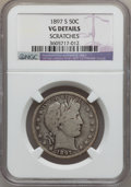 Barber Half Dollars: , 1897-S 50C -- Scratches -- NGC Details. VG. NGC Census: (14/112).PCGS Population (29/236). Mintage: 933,900. Numismedia Ws...