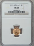 Commemorative Gold: , 1917 G$1 McKinley MS64 NGC. NGC Census: (408/532). PCGS Population(798/1001). Mintage: 10,000. Numismedia Wsl. Price for p...