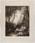 Books:Prints & Leaves, J. W. Schirmer. Engraved 19th Century Print Entitled, Pan unddie Nymphen. Approx. 19.25 x 15.5 inches. Minor toning...