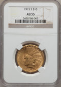 Indian Eagles, 1915-S $10 AU55 NGC....
