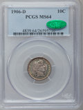 Barber Dimes: , 1906-D 10C MS64 PCGS. CAC. PCGS Population (38/24). NGC Census:(20/25). Mintage: 4,060,000. Numismedia Wsl. Price for prob...