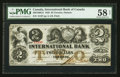 Canadian Currency: , Toronto, ON- The International Bank $2 Sept. 15, 1858 Ch #380-10-08-12. ...