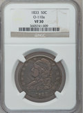 Bust Half Dollars: , 1833 50C VF30 NGC. W/P, O-110a. NGC Census: (29/1250). PCGSPopulation (46/1386). Mintage: 5,206,000. Numismedia Wsl. Price...