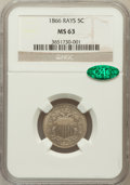Shield Nickels: , 1866 5C Rays MS63 NGC. CAC. NGC Census: (272/724). PCGS Population(339/609). Mintage: 14,742,500. Numismedia Wsl. Price fo...