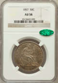 Seated Half Dollars: , 1857 50C AU58 NGC. CAC. NGC Census: (30/78). PCGS Population(11/57). Mintage: 1,988,000. Numismedia Wsl. Price for problem...