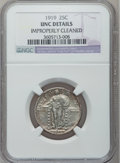 Standing Liberty Quarters: , 1919 25C -- Improperly Cleaned -- NGC Details. UNC. NGC Census:(1/478). PCGS Population (7/633). Mintage: 11,324,000. Numi...