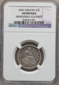 Seated Quarters: , 1854 25C Arrows -- Improperly Cleaned -- NGC Details. AU. NGCCensus: (26/379). PCGS Population (48/356). Mintage: 12,380,0...