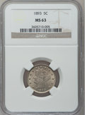 Liberty Nickels: , 1893 5C MS63 NGC. NGC Census: (86/273). PCGS Population (139/294).Mintage: 13,370,195. Numismedia Wsl. Price for problem f...