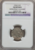 Buffalo Nickels: , 1924-D 5C -- Improperly Cleaned -- NGC Details. AU. NGC Census:(9/455). PCGS Population (14/673). Mintage: 5,258,000. Numi...