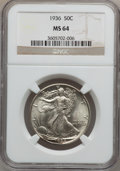 Walking Liberty Half Dollars: , 1936 50C MS64 NGC. W/P. NGC Census: (846/1797). PCGS Population(1639/2758). Mintage: 12,617,901. Numismedia Wsl. Price fo...