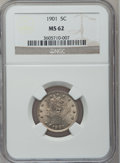 Liberty Nickels: , 1901 5C MS62 NGC. NGC Census: (64/585). PCGS Population (70/703).Mintage: 26,480,212. Numismedia Wsl. Price for problem fr...