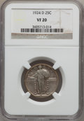 Standing Liberty Quarters: , 1924-D 25C VF20 NGC. NGC Census: (9/1229). PCGS Population(8/1598). Mintage: 3,112,000. Numismedia Wsl. Price for problem ...