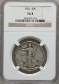 Walking Liberty Half Dollars: , 1921 50C VG8 NGC. NGC Census: (87/467). PCGS Population (180/745).Mintage: 246,000. Numismedia Wsl. Price for problem free...