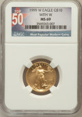 Modern Bullion Coins, 1999-W G$10 Quarter-Ounce Gold Eagle With W MS69 NGC. Top-50. NGCCensus: (1199/21). PCGS Population (1214/1). Numismedia ...