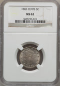 Liberty Nickels, 1883 5C With Cents MS62 NGC. W/P. NGC Census: (90/638). PCGSPopulation (114/781). Mintage: 16,032,983. Numismedia Wsl. Pri...