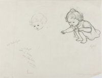 "Garth Williams, illustrator. Original Sketch Initialed ""G.W."" 12.5 x 9.5 inches on t"