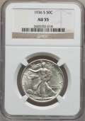 Walking Liberty Half Dollars: , 1936-S 50C AU55 NGC. NGC Census: (7/1190). PCGS Population(22/1876). Mintage: 3,884,000. Numismedia Wsl. Price for problem...
