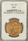 Liberty Double Eagles: , 1856-S $20 AU55 NGC. NGC Census: (181/186). PCGS Population(49/85). Mintage: 1,189,750. Numismedia Wsl. Price for problem ...