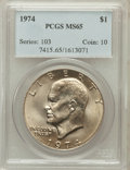Eisenhower Dollars: , 1974 $1 MS65 PCGS. PCGS Population (969/98). NGC Census: (591/56). Mintage: 27,366,000. Numismedia Wsl. Price for problem f...