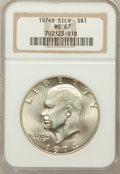 Eisenhower Dollars: , 1974-S $1 Silver MS67 NGC. NGC Census: (1065/141). PCGS Population(3768/922). Mintage: 1,900,156. Numismedia Wsl. Price fo...