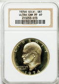 Proof Eisenhower Dollars: , 1974-S $1 Silver PR69 Ultra Cameo NGC. NGC Census: (1506/0). PCGSPopulation (12628/10). Numismedia Wsl. Price for problem...