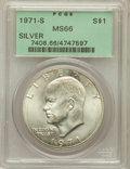 Eisenhower Dollars: , 1971-S $1 Silver MS66 PCGS. PCGS Population (2776/384). NGC Census: (753/82). Mintage: 2,600,000. Numismedia Wsl. Price for...