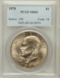 Eisenhower Dollars: , 1978 $1 MS65 PCGS. PCGS Population (1165/344). NGC Census: (455/136). Mintage: 25,702,000. Numismedia Wsl. Price for proble...
