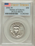 Modern Bullion Coins, 2006-W $50 Platinum Statue of Liberty First Strike MS70 PCGS. PCGSPopulation (339). NGC Census: (0). Numismedia Wsl. Pric...