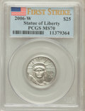 Modern Bullion Coins, 2006-W $25 Platinum Statue of Liberty First Strike MS70 PCGS. PCGSPopulation (236). NGC Census: (0). Numismedia Wsl. Pric...